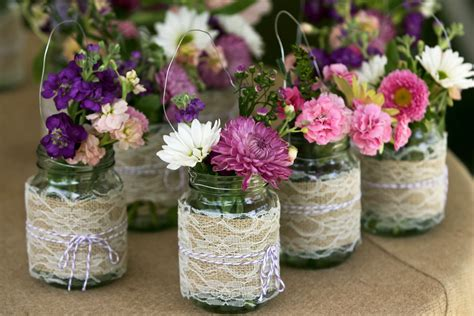 Mason Jar Wedding Centerpieces With Colorful Jars Wedding Centerpieces