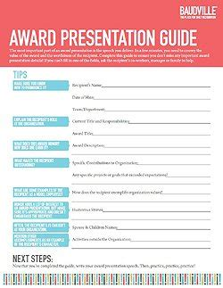award speech template baudville
