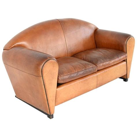 art deco leather sofa art deco cognac leather sofa at 1stdibs