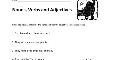 Nouns Verbs Adjectives Worksheet by Teaching Simplified Identifying Nouns Verbs And