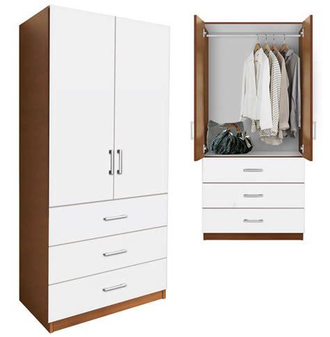 armoire white wardrobe alta wardrobe armoire 3 external drawers contempo space