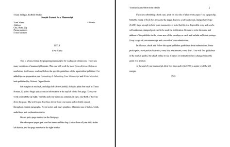 manuscript template a well formatted story manuscript how to make