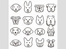 Cute Dogs Faces Line Art Set Stock Vector Art & More ... Easy Dog Face Drawing