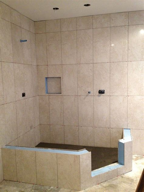 vertical shower tile in a straight lay powder rooms