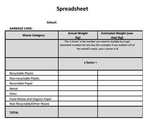 Blank Spreadsheet Template 7 Download Documents For Pdf Printable Spreadsheet Template