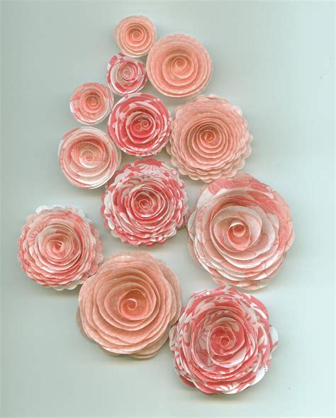 Handmade Paper Roses - pink pattern handmade spiral paper flowers