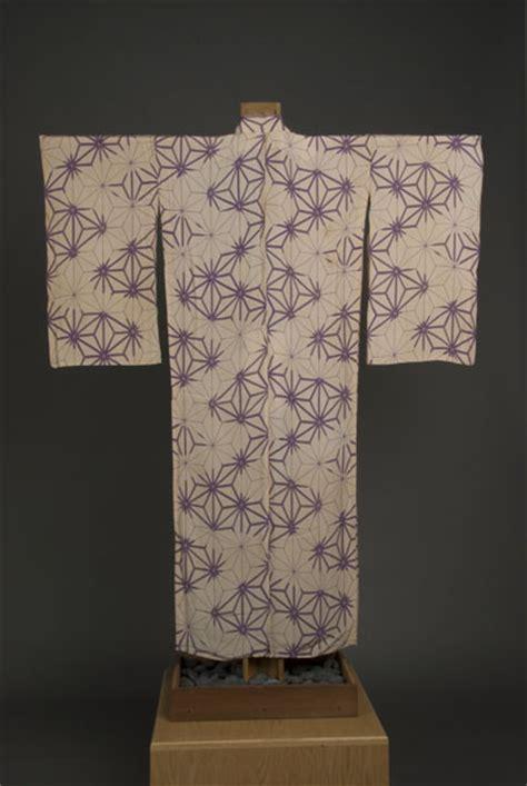 kimono leaf pattern beige woman s kimono with purple asanoha hemp leaf