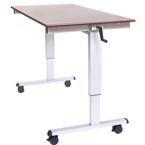wooden top adjustable standing desk on wheels decofurnish