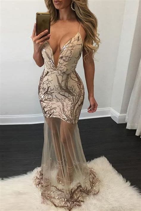 beige sleeveless sequined mesh sexy sheer maxi party dress
