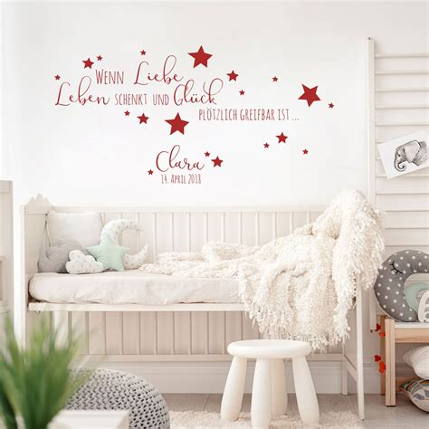 Wandtattoo Kinderzimmer Spruch by Wandtattoo Baby Geburt Spruch Zitat Sterne Kinderzimmer