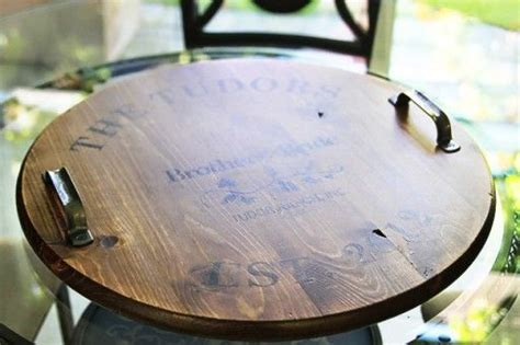 diy distressed wine barrel top tray crafts pinterest