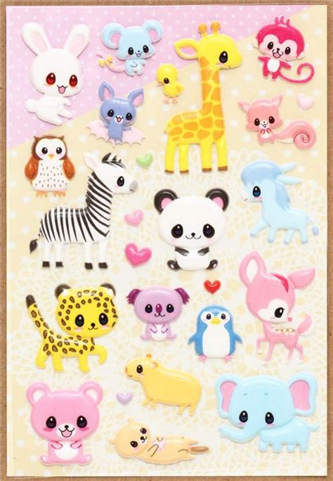 imagenes de animalitos kawaii kawaii sponge animal stickers giraffe zebra panda animal