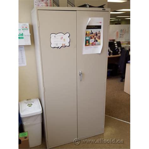used locking metal storage cabinet global beige 72 quot 2 door metal storage cabinet locking
