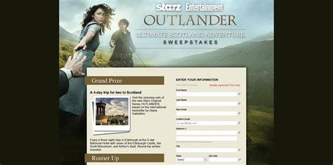 Us Sweepstakes Fulfillment Co - entertainment weekly s outlander ultimate scotland adventure sweepstakes visit the