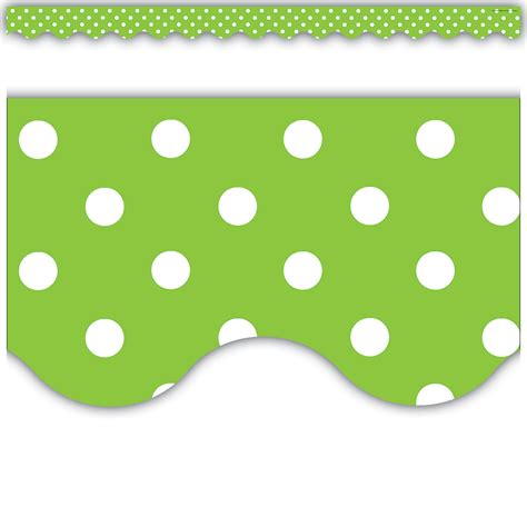 Polka Dot Stickers For Walls lime polka dots scalloped border trim tcr4669 teacher