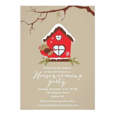 holidays robin housewarming party invitation card