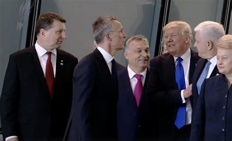 donald trump got pushed trump just shoved another nato member to get to the front
