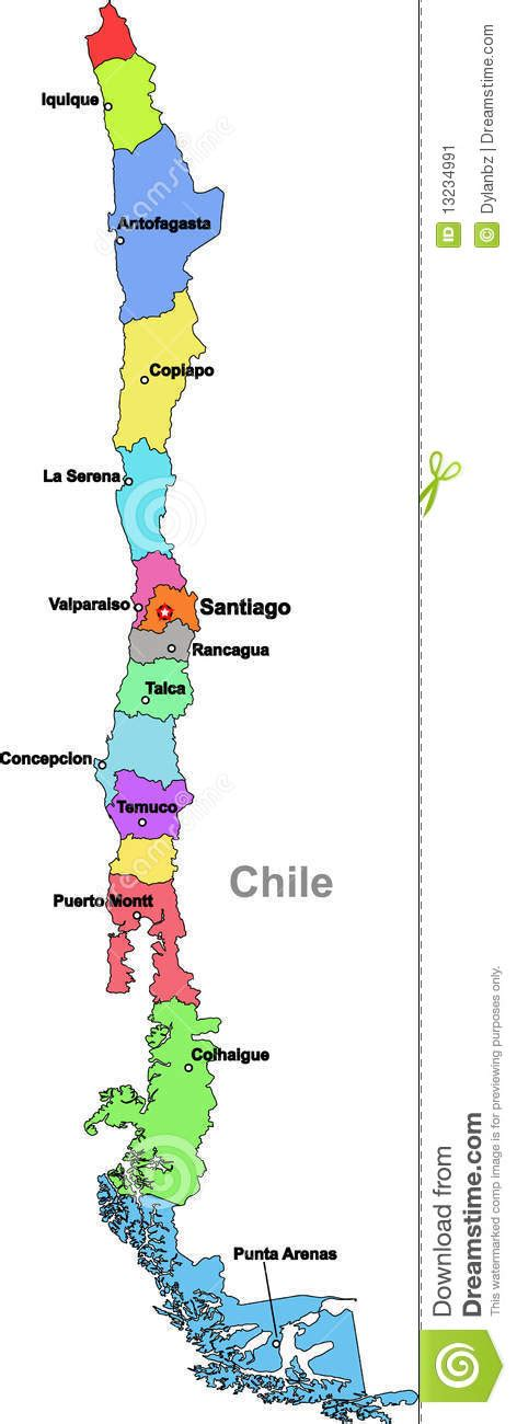 chile regions map chile map stock image image 13234991