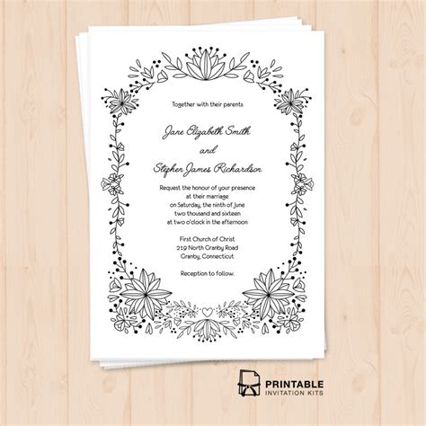 doodle wedding stationery doodle foliage frame invitation wedding invitation