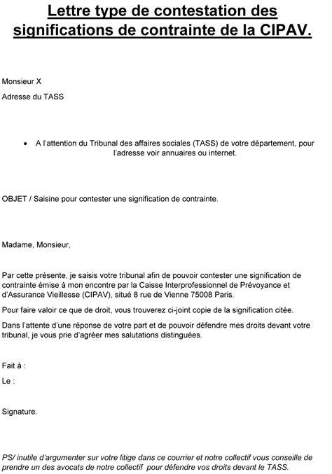 Lettre De Contestation Assurance Mobile modele lettre opposition signification de contrainte