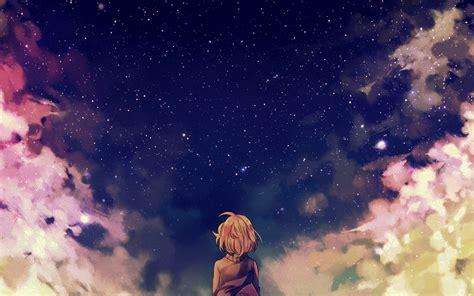 ad starry space illust anime girl wallpaper