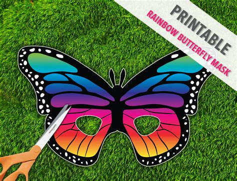 rainbow butterfly printable mask butterfly mask by therasilisk