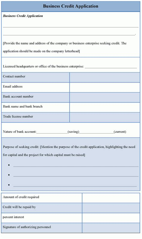 Business Credit Application Template Uk Application Template For Business Credit Sle Of
