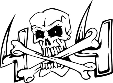 coloring sheet of skull n cross bones for kids coloring