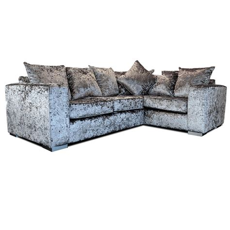 grey corner sofa elstra crushed velvet corner sofa grey fabric l shaped