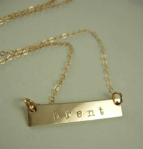 gold name plate necklace gold bar by jamesmichellejewelry