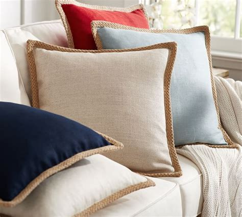 Linen Dining Room Chairs jute braid pillow cover pottery barn