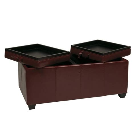 storage ottoman bench with tray office star metro storage bench w trays red faux leather