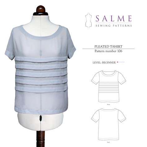 sewing pattern t shirt salme sewing patterns 106 pleated t shirt downloadable pattern