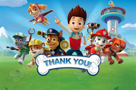 paw patrol thank you card template paw patrol birthday invitation free thank you card