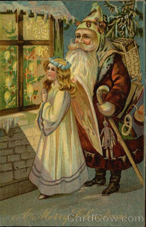 merry christmas santa  angel   window   snow santa claus