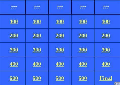 jeopardy printable template jeopardy powerpoint templates powerpoint templates