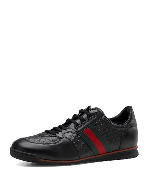 black gucci sneakers gucci sl73 lace up sneaker in black lyst
