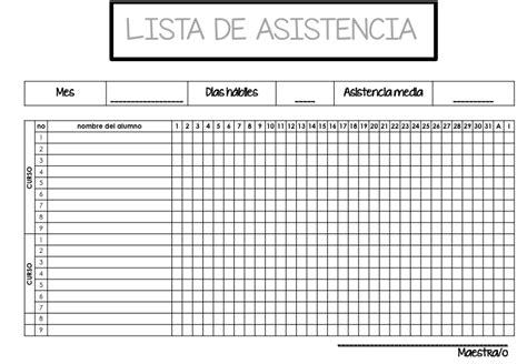 formato lista asistencia preescolar dos listas de control asistencia editables en power point