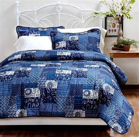 Country Patchwork Quilt Sets - country style shades of blue patchwork quilt set ebay