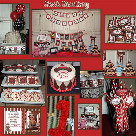 printable monkey birthday decorations diy sock monkey deluxe birthday party printable part package