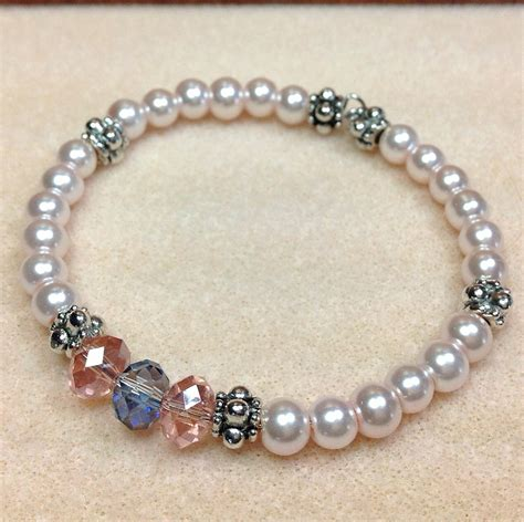 glass pearl bracelet memory wire pearl bracelet bridesmaid