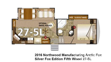 arctic fox 5th wheel floor plans 2016 northwood arctic fox 27 5l for sale in longmont co lazydays
