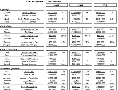 financial ratios template financial ratios calculator in excel business templates