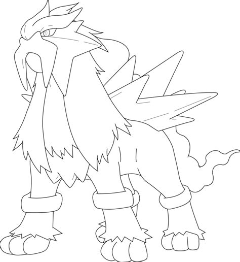 pokemon coloring pages raikou lineart of entei by inukawaiilover on deviantart