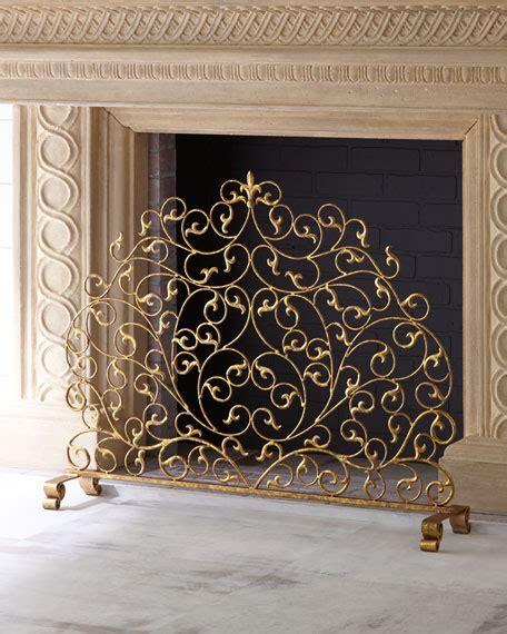 single panel fireplace screen gold augusta monogrammed fireplace screen