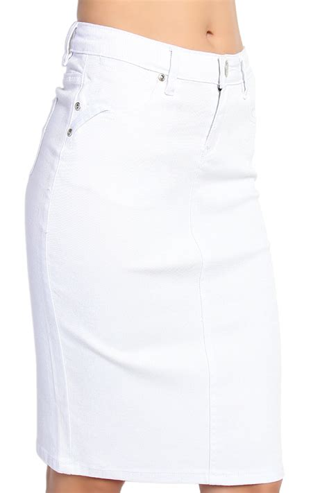 themogan 5 pocket white denim pencil skirt knee length