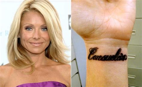 kelly ripa wrist tattoo ripa shows bearing husband s last name