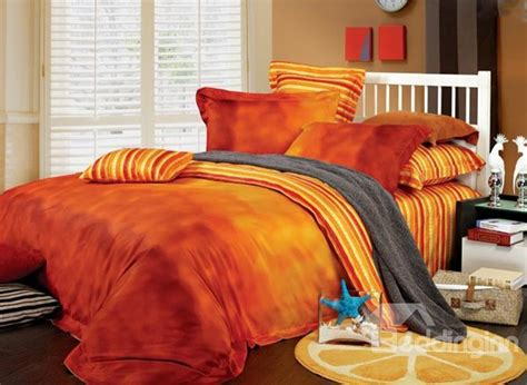 sunset red staple cotton 4 piece duvet cover sets