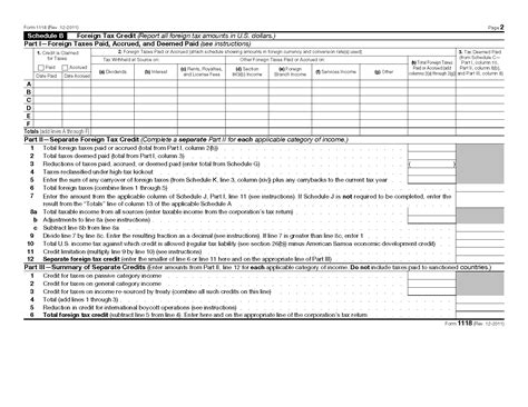 Tax Credit Form Pdf Form 1118 Foreign Tax Credit Corporations