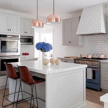 cb2 kitchen island marble hexagon tiles with black bluestar range transitional kitchen